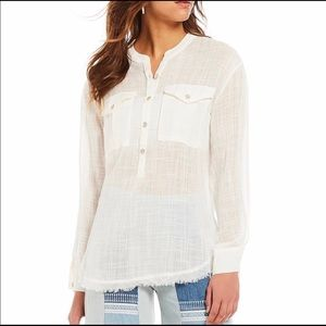 Free people talk to me button down top size small